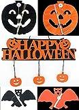 [fiveAstar] ハロウィン パーティー 飾り Halloween フェルト 壁掛け + ガーランド 切り絵 ペーパー カボチャ コウモリ H152