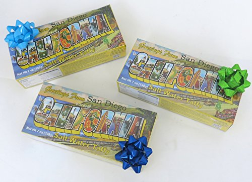 San Diego, California, Salt Water Taffy, 3 Boxes, Christmas , Stocking stuffers, Souvenir. (Salt Water Taffy Gift Box compare prices)