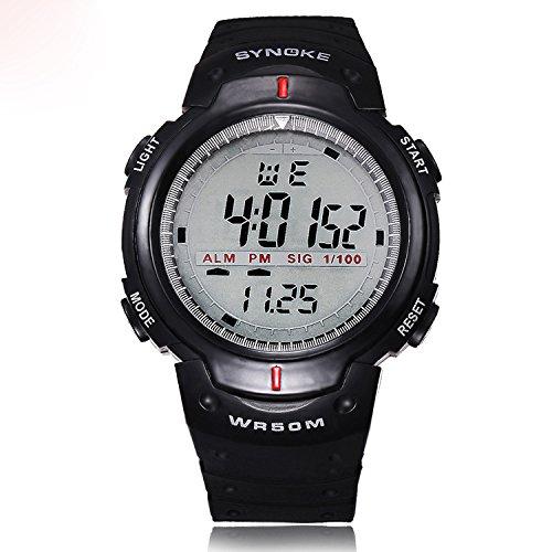 ラバーストラップ黒デジタル腕時計を実行している防水水泳スポーツタイマー多機能の男性ブランド