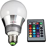 niceeshop(TM) KINFIRE E27 10W Seven Color Changing RGB LED Bulb with Remote Controller,White and Silver (85-265V)