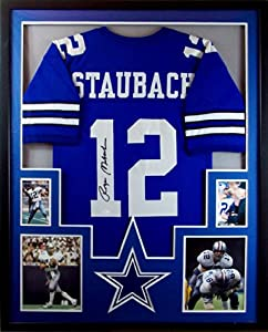 Roger Staubach Framed Jersey Signed JSA COA Autographed Dallas Cowboys by Mister Mancave