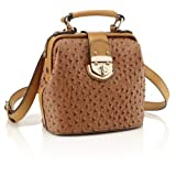 Tan Ostrich Doctors Faux Leather Bag JC70498