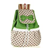 Sweet Lace Bow Polka Dot Leisure Canvas Spot Backpack for Girls (Lace Green Rucksack)