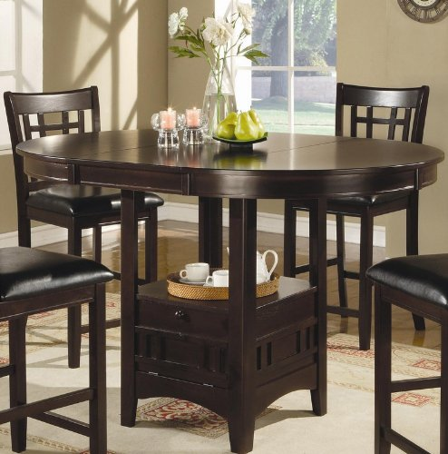 Counter Height Dining Table Extension Leaf Dark Cappuccino Finish