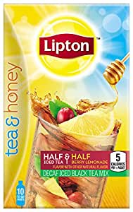 Lipton Tea & Honey To-Go Packets, Decaf Black Tea Berry Lemonade 10 ct, (Pack of 6)