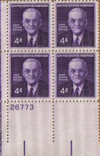 1960 JOHN FOSTER DULLES ~ SECRETARY OF STATE #1172 Plate Block of 4 x 4 cents US Postage Stamps