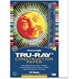 """Tru-Ray Construction Paper, 9""""X12"""", White, 50 Sheets"""