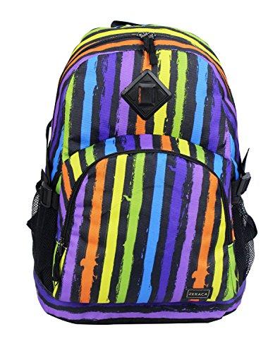 Zeraca Great Deals Large Student Backpacks School Book Bags (Claret Stripe)