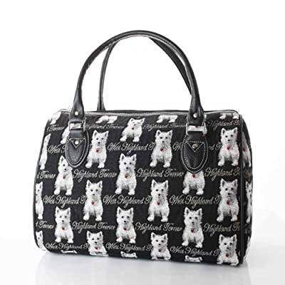 women's black canvas weekend travel duffle bag/westie dog cabin approved hand luggage
