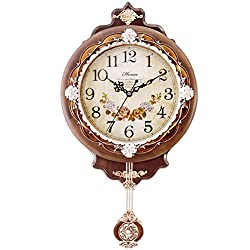 HENSE Vintage Retro Design 12-inch Non-ticking Ultra Mute Silent Quartz Movement Wooden Wall Clock with Pendulum HP01 (Brown)