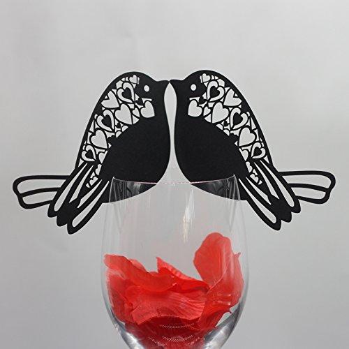 Lot de 50pcs Carte de Verre Marque Place Forme Oiseau Décoration de Table - Noir