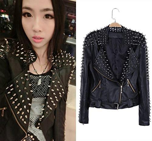 Ladies Women's Spike Slim Fit Motorcycle Goth Outwear Coat Short Jacket