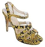 KAREN MILLEN Yellow & Black Snake Effect All Leather Open Sandals - Size 6 / EU39