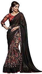 Lizel Fashion Georgette Saree with Blouse Piece (Black)