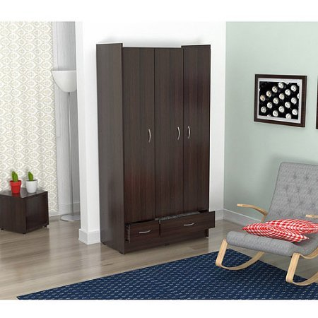 Inval Three Door 2 Drawer Wardrobe/Armoire, Espresso-Wengue Finish