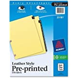 Avery Black Leather Preprinted Dividers with Jan-Dec Tabs, 12-Tab Set, 1 Set (25181)