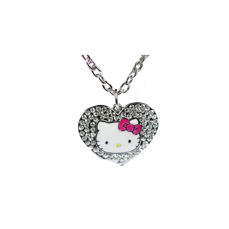 Hello Kitty Large Heart Crystal Necklace with Dark Pink Enamel Bow & Kitty Face in Hello Kitty By Jersey Bling
