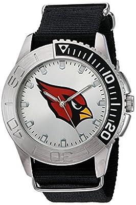 Game Time Men's 'Starter' Quartz Metal and Nylon Automatic Watch, Color:Black (Model: NFL-STA-ARI)