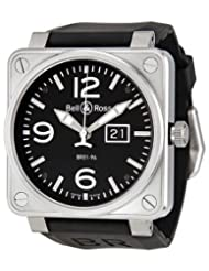 Bestseller Bell and Ross Grande Date Black Dial Black Rubber Mens Watch BR0196-BL-ST Limited time