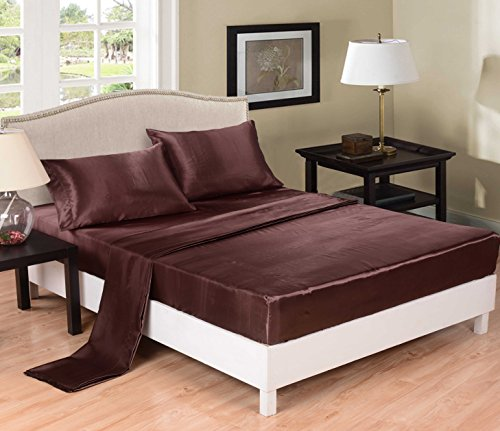 Honeymoon Super Soft Wrinkle Free Fade-Resistant No Ironing Sheets, King 4Pc Bed Sheet Set, Chocolate
