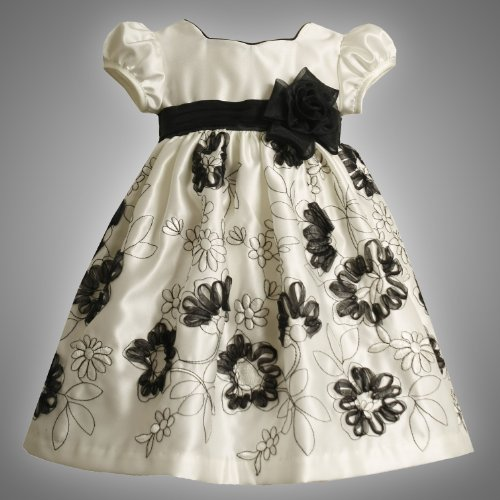 Size-2T BNJ-4399-B IVORY BLACK PLEATED EMBROIDERED BONAZ SATIN Special Occasion Wedding Flower Girl Party Dress,B24399 Bonnie Jean TODDLERS