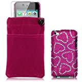 APPLE IPOD TOUCH 4TH GEN 3 PC LUXURY GIFT ACCESSORY PACK - LOVE HEARTS DIAMANTE CASE / COVER / SHELL SCREEN PROTECTOR POUCH PART OF THE QUBITS ACCESSORIES RANGEby Qubits