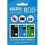 FoldIT B-0710-3PK-K-PB-362-8G CustomUSB USB Flash Drive 8GB 3-Pack - Black/Light Blue/Green