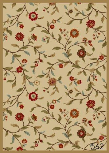 NEW Garden Ivory Floral Design Rubber backed durable Runner Rug Carpet 2x7