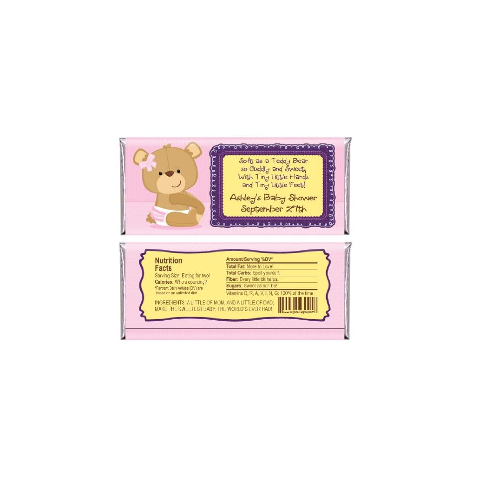 Baby Girl Teddy Bear   Personalized Baby Shower Candy Bar Wrapper Favors