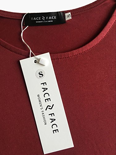 Face N Face Women's Knitting Sexy Casual Long Sleeve Short Dress Wine X-Large