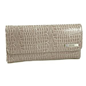 Kenneth Cole Reaction Womens Patent Croco Clutch Wallet Trifold W Coin Purse (Sand)