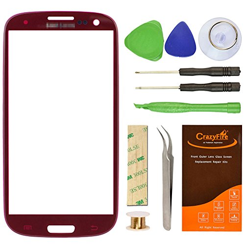 Samsung Galaxy S3 Replacement Front Screen Glass Lens CrazyFire® Repair Kit For S III I9300 I747 L710 T999 I535 R530 with Tool Kit and Adhesive Tape (Chestnut Red) (Galaxy S3 Red Screen Repair Kit compare prices)