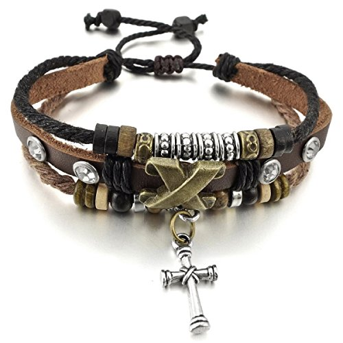 Alloy Genuine Leather Bracelet Bangle Rope Cross Wrap Adjustable