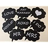 Fonder Mols Set of 8 Wedding Engagement Photo Booth Signs Photobooth Props Speech Bubbles on a Stick Bridal Shower Party Decoration