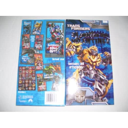 30 Transformers Embossed Foil Valentines Day Cards With 35 Stickers
