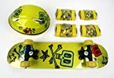 Kids Skateboard & Protect Gear Combo / Yellow Skull - CPSC Standard