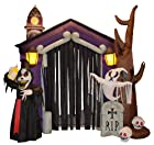 8.5 Foot Halloween Inflatable Haunted House Castle with Skeletons, Ghost and Skulls Yard Decoration