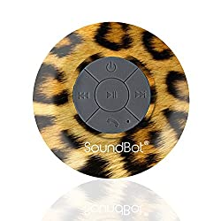 SoundBot® SB510 HD Water Proof Bluetooth 3.0 Speaker, Mini Water Resistant Wireless Shower Speaker, Handsfree Portable Speakerphone with Built-in Mic, 6hrs of playtime, Control Buttons and Dedicated Suction Cup for Showers, Bathroom, Pool, Boat, Car, Beach, & Outdoor Use (Leopard)