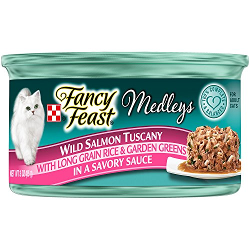 Fancy Feast Wet Cat Food, Elegant Medleys, Wild Salmon Tuscany with Long Grain Rice an Garden Greens in a Savory Sauce, 3-Ounce Can, Pack of 24