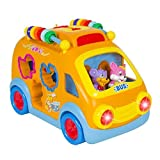 Best Choice Products Kids Toy Happy Animal School Bus Bump And Go Action With Music, Animal Sounds, Lights And...