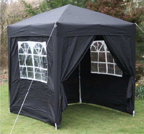 2.0x2.0mtr BLACK Pop Up Gazebo, FULLY WATERPROOF with Four Side Panels and Carrybag