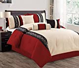 Modern 7 Piece Bedding Pepper Red / Black / Beige EmboideRed and Quilted QUEEN Comforter Set with accent pillows