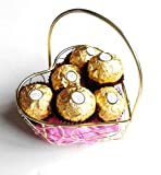 Ferrero Rocher Gift Basket - Delicious Chocolates Beautifully Presented In A Heart Shaped Gold Metal Basket - Cellophane & Ribbon Gift Wrapped