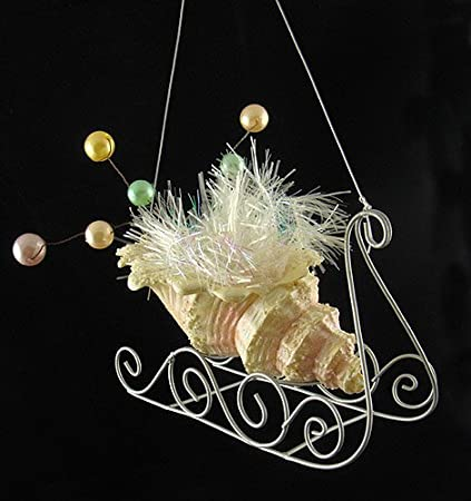Seashell Sleigh With Pearls & Tinsel