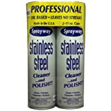 Sprayway Stainless Steel Cleaner, 2/15oz Can