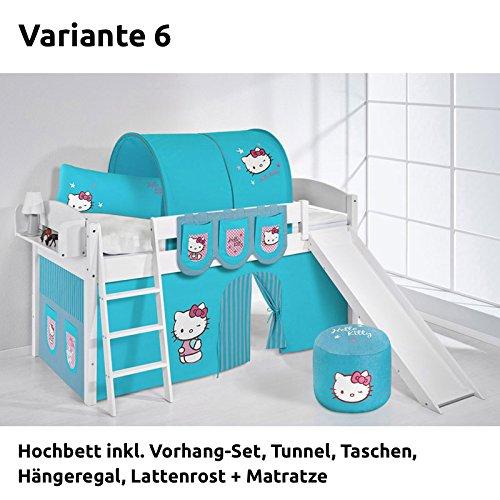 Hochbett Spielbett IDA Hello Kitty Türkis, mit Rutsche und Vorhang, weiß, Variante 6 jetzt kaufen