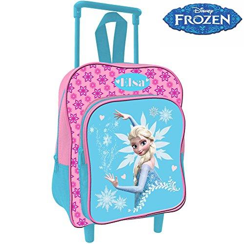 Bakaji Zaino Trolley Frozen Elsa Disney Zainetto Asilo Anna Regno di Ghiaccio Scuola Bambine Viaggi 30 cm