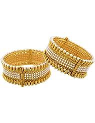 Arnav Creations Gold Metal Bangle Set For Women - Set Of 2 (Size: 2.6, ACB0034)
