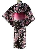 女性用浴衣2点セットお仕立て上がりゆかたブラック ラメ帯ピンク【SFS-03】