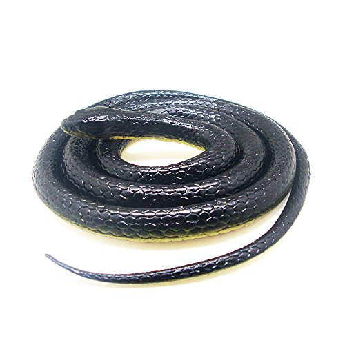 Realistic-Rubber-Scary-Gag-Gift-Black-Mamba-Snake-Toy-52-Inch-Long